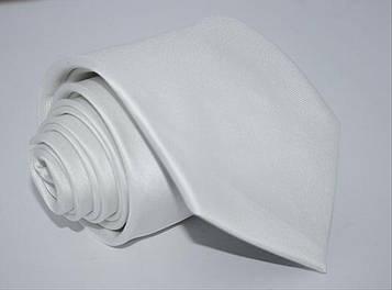 Галстук однотонный белый 8,5 см.