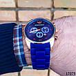 Часы мужские в стиле Armani. Мужские наручные часы синие. Часы с синим циферблатом Годинник чоловічий, фото 3