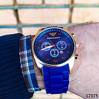 Часы мужские в стиле Armani. Мужские наручные часы синие. Часы с синим циферблатом Годинник чоловічий