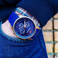 Часы мужские в стиле Armani. Мужские наручные часы синие. Часы с синим циферблатом Годинник чоловічий, фото 2