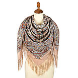 Великолепный век 1867-16, павлопосадский платок (шаль, крепдешин) шелковый с шелковой бахромой, фото 3