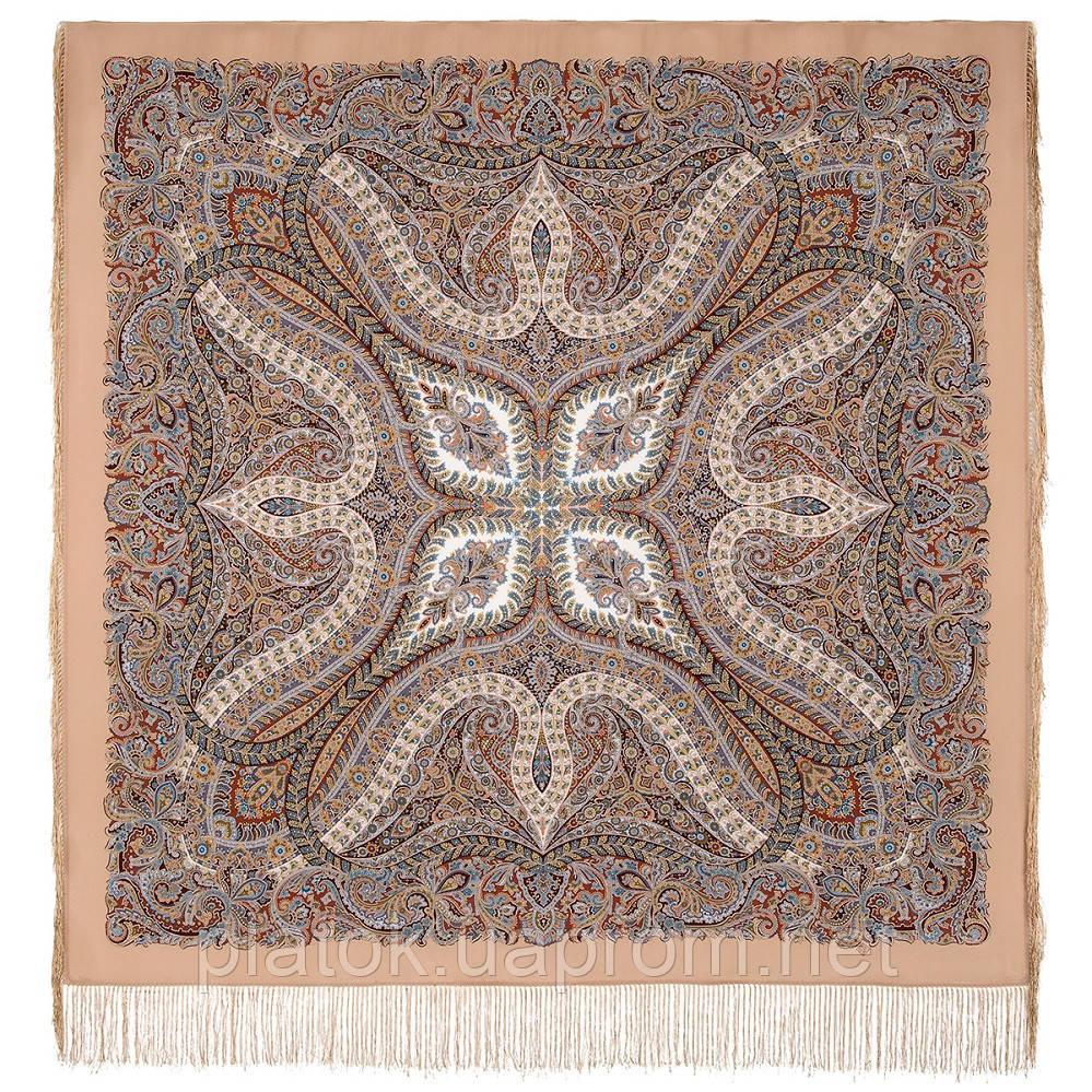 Великолепный век 1867-16, павлопосадский платок (шаль, крепдешин) шелковый с шелковой бахромой
