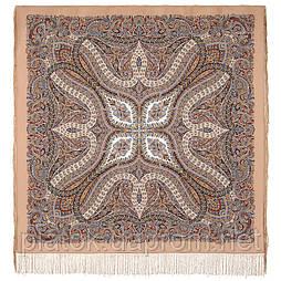 Чудовий століття 1867-16, павлопосадский хустку (шаль, крепдешин) шовковий з шовковою бахромою