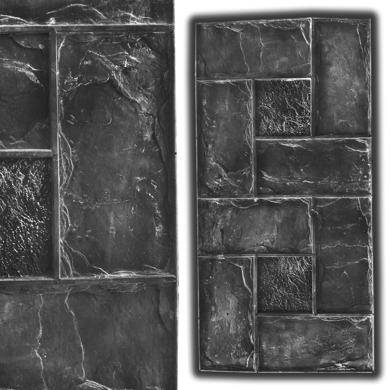 Переплёт 80х40 см - штамп резиновый для печатного бетона; имитирует пиленый колотый плитняк; плетёная укладка