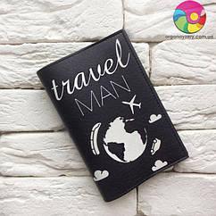 Обложка на паспорт Travel man 7 (черный)