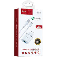 СЗУ Hoco C12Q Smart + Cable (Type C) QC3.0 1USB Швидка зарядка