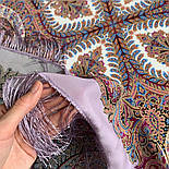 Великолепный век 1867-15, павлопосадский платок (шаль, крепдешин) шелковый с шелковой бахромой, фото 4