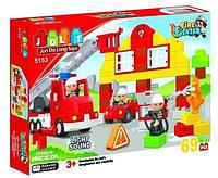 """Детский конструктор JDLT """"Пожарная машина"""" со световыми и звуковыми эффектами, 69 деталей (5153)"""