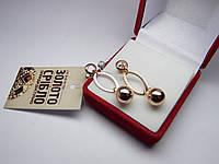 Золотые женские серьги, гвоздики, пусеты с подвеской 4,43 г