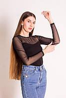 Лонгслив женский черный с сеткой на плечах и рукавах