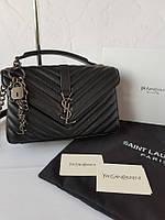 Кожаная женская сумка на цепочке Yves Saint Laurent Ив Сен Лоран YSL. Размер 24см.