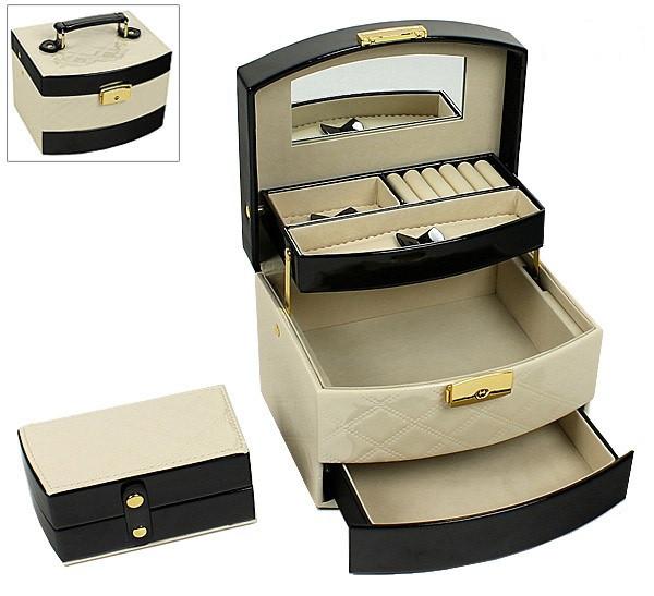 Шкатулка-органайзер для украшений с дорожным футляром, бежево-черная, P-204