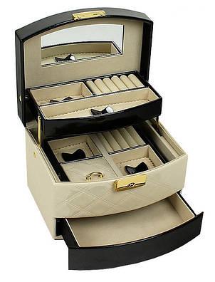 Шкатулка-органайзер для украшений с дорожным футляром, бежево-черная, P-204, фото 2