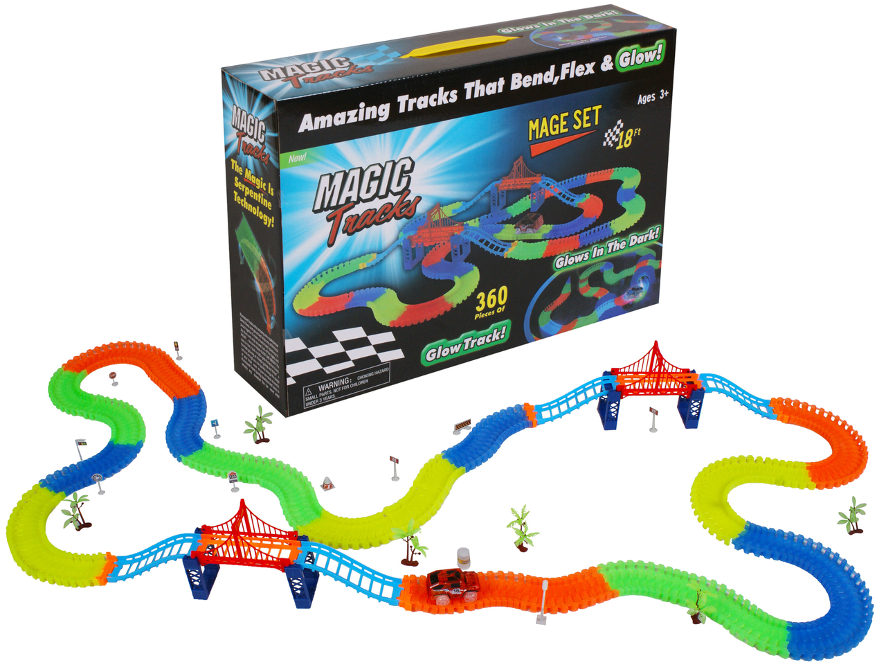 Гнучкий світиться трек Magic Tracks: 360 деталей (світиться дорога з 2 машинками Меджик Трекс)+ПОДАРУНОК!