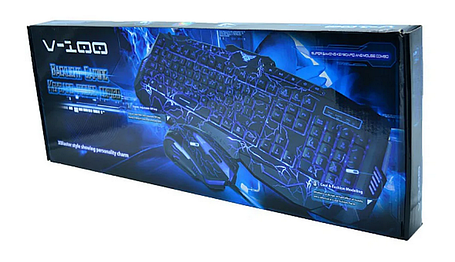 Проводная игровая клавиатура с подсветкой и мышкой V-100, фото 2