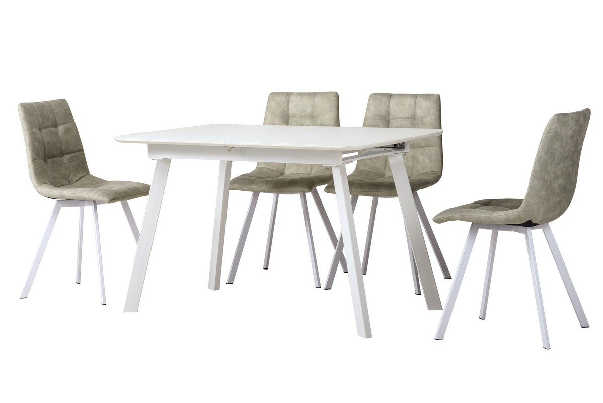 Раздвижной стол TM-170 белый сатин 120/160 Vetro Mebel (бесплатная доставка)