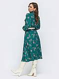 Платье-миди в цветочном принте с воротником-стойка  и и длинным рукавом, фото 8