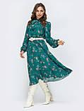 Платье-миди в цветочном принте с воротником-стойка  и и длинным рукавом, фото 7