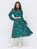 Платье-миди в цветочном принте с воротником-стойка  и и длинным рукавом, фото 6