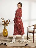 Платье-миди в цветочном принте с воротником-стойка  и и длинным рукавом, фото 2