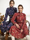 Платье-миди в цветочном принте с воротником-стойка  и и длинным рукавом, фото 3