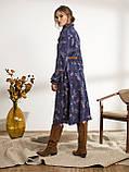 Платье-миди в цветочном принте с воротником-стойка  и и длинным рукавом, фото 5