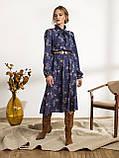 Платье-миди в цветочном принте с воротником-стойка  и и длинным рукавом, фото 4