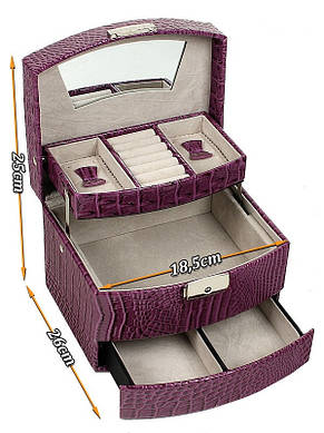 Шкатулка-органайзер для украшений, фуксия, М-257, фото 2