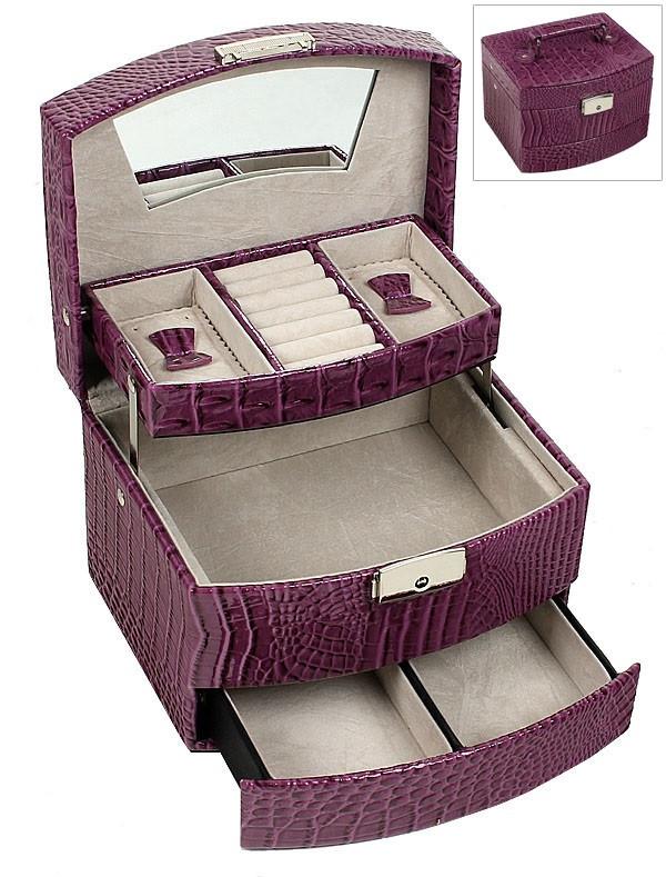 Шкатулка-органайзер для украшений, фуксия, М-257