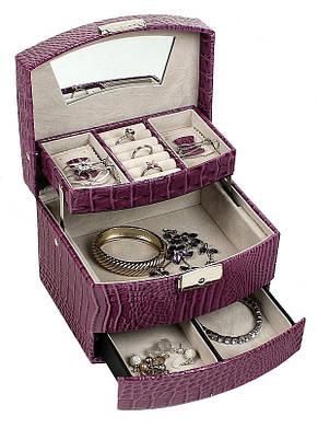 Шкатулка-органайзер для украшений, фуксия, М-257, фото 3