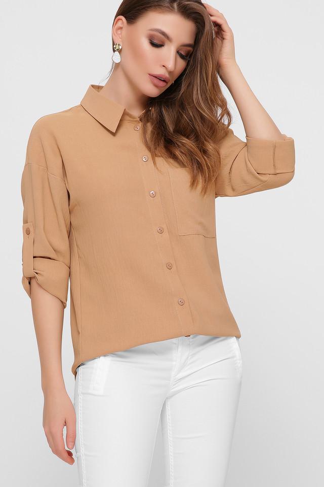 Бежевая рубашка женская удлинённая