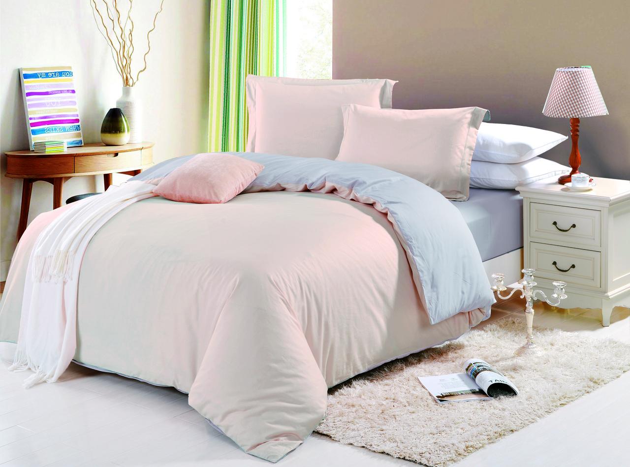 Комплект постельного белья семейный Bella Villa сатин бежево-серый