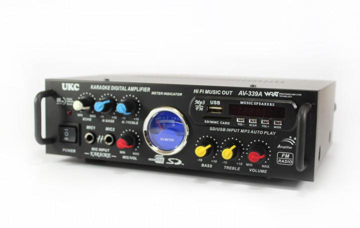 Усилитель звука  70Вт к неактивным колонкам с пультом Bluetooth USB SD AUX Karaoke UKC AV339  12-220 V