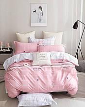 Комплект постільної білизни сімейний Bella Villa сатин рожевий