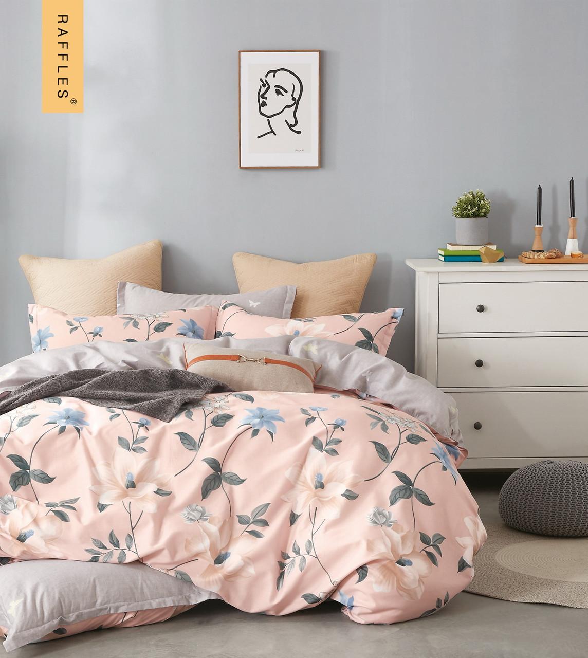 Комплект постельного белья семейный Bella Villa сатин персиковый с цветами