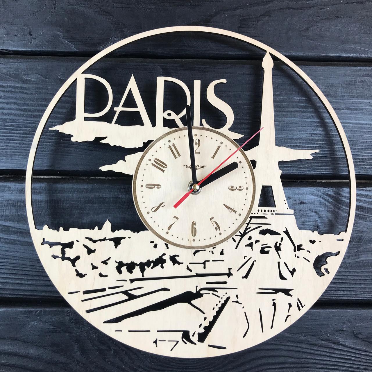 Стильные деревянные часы на стену «Франция, Париж»