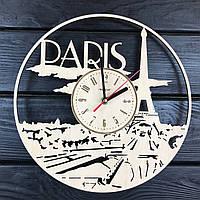 Стильные деревянные часы на стену «Франция, Париж», фото 1