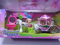 Карета розовая с  белой лошадкой и куклой и аксессуары