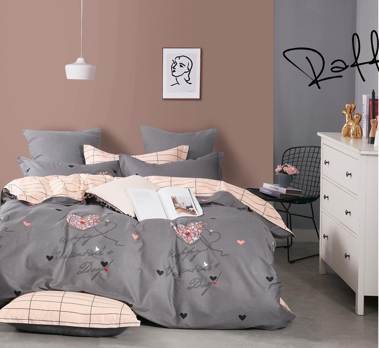 Комплект постельного белья семейный Bella Villa сатин серый с розовым