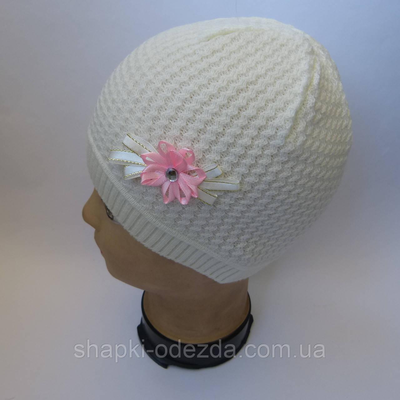 Детская вязаная шапка для девочки 3-5 лет оптом