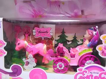 Детский набор розовая пони с розовой каретой