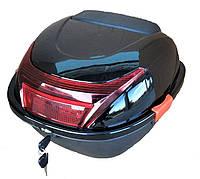 Кофр черный глянцевый на один шлем со спинкой