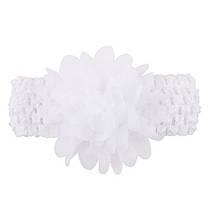 Детская белая повязка на голову - окружность головы приблизительно 26-50см, диаметр цветка 8см