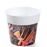 Горшок для цветов Prosperplast IML-14 с принтом Новогоднее печенье (DML140S3)
