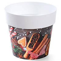 Горшок для цветов Prosperplast IML-16 с принтом Новогоднее печенье (DML160S3)