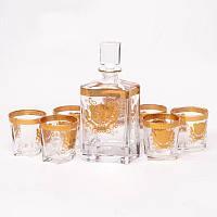 Набор для виски Butterfly Preface (графин 0,8 л. и 6 стаканов 0,3 л) золотистый оригинальный подарок