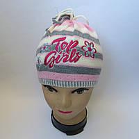Детская вязаная шапка для девочки 4-6 лет оптом
