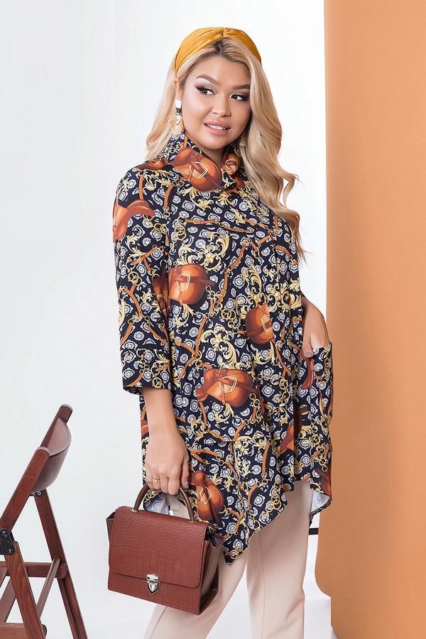 Стильная рубашка с асимметричным низом 58226 (48–62р) в расцветках