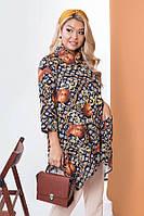 Стильная рубашка с асимметричным низом 58226 (48–62р) в расцветках, фото 1