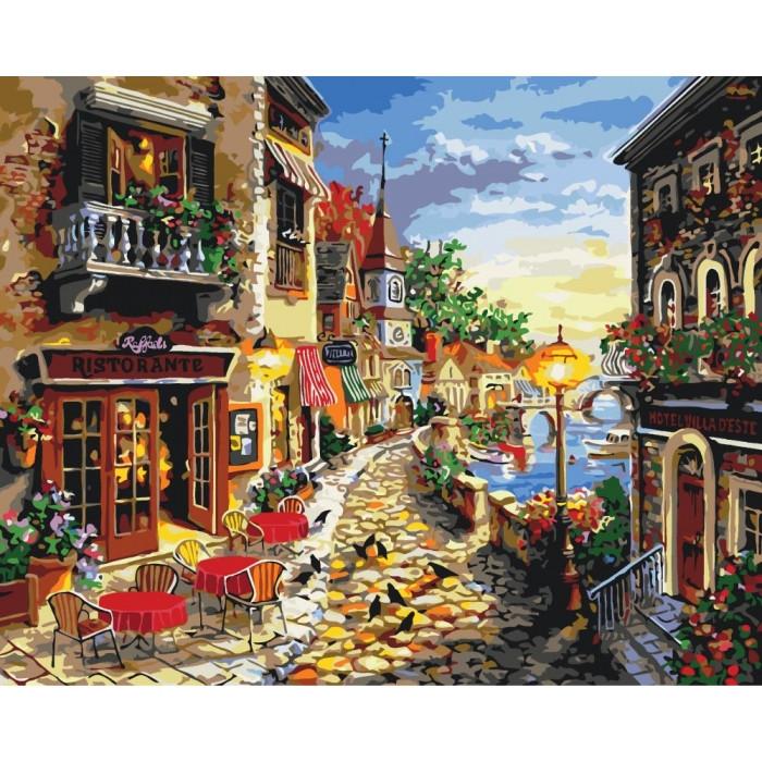 Картины по номерам - Уютная улочка 40х50см. КНО2132 Идейка